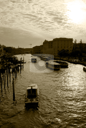 Venice stock photo, Venice, canals and historic buildings with speedboats by freeteo