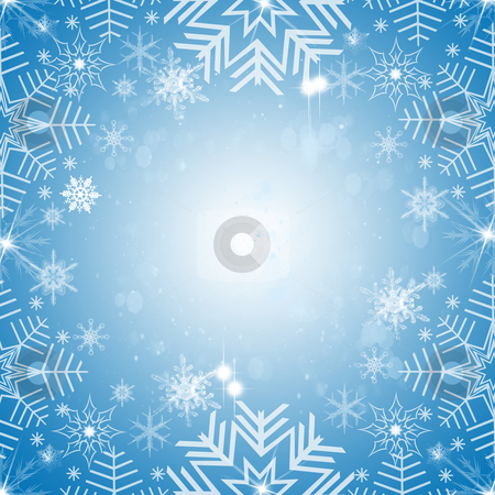 Abstract snowflakes background stock photo, Abstract snowflakes background on blue  by Ingvar Bjork