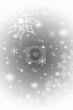 Abstract snowflakes background stock photo, Abstract snowflakes background on gray by Ingvar Bjork
