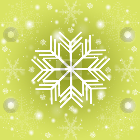 Abstract snowflakes background stock photo, Abstract snowflakes background on green  by Ingvar Bjork