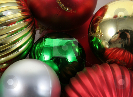 A Bunch of Christmas Baubles stock photo, A closeup of a bunch of Christmas baubles.  by Chris Hill