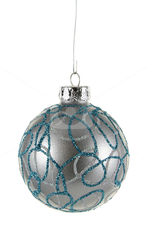 Silver Decorated Bauble stock photo, A single isolated decorated silver Christmas bauble hanging.  by Chris Hill