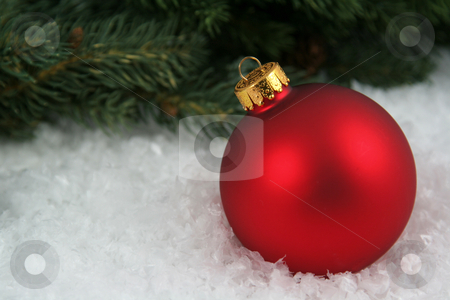 Red Bauble sitting in the Snow stock photo, A red Christmas bauble sitting in a bed of snow.  by Chris Hill