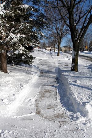 Shoveled Sidewalk stock photo, A freshly shoveled sidewalk after a winter snow fall. by Chris Hill