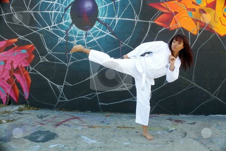 Beautiful Martial Arts Girl and Graffiti (3) stock photo, A beautiful young girl wearing a traditional martial arts uniform throws a kick in front of a graffiti spider on his web. by Carl Stewart