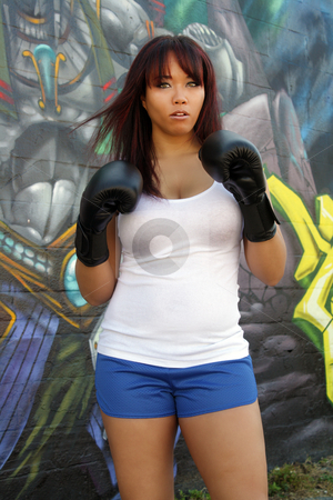 Beautiful Female Boxer (2) stock photo, A lovely young female boxer stands ready in front of colorful graffiti. by Carl Stewart