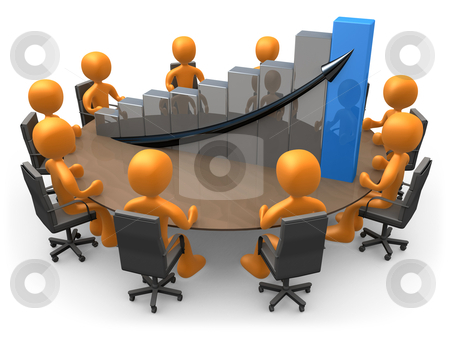 Statistics Meeting stock photo, 3D people doing a meeting on a table with a large graph. by Konstantinos Kokkinis