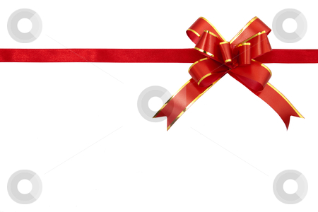 Red gift ribbon isolated on white background   stock photo, Red gift ribbon isolated on white background 