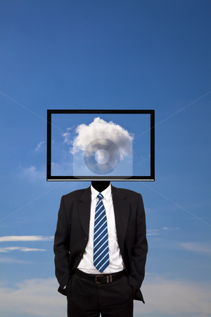 Business dreamer with computer monitor head   stock photo, business dreamer with computer monitor head   by tomwang