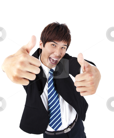 Successful asian young businessman with thumb up stock photo, Successful asian young businessman with thumb up by tomwang