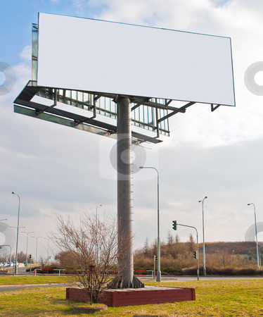 Blank Billboard stock photo, Blank Billboard on High Pedestal Near Crossroad by JAMDesign