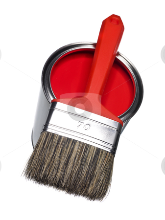 Red Paint can and brush stock photo, Red Paint can and brush isolated on white background by Anne-Louise Quarfoth