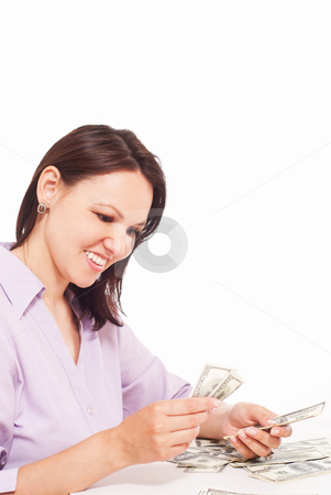 Smiling businessman with money  stock photo, smiling businessman with money on a white background by Alevtina Guzova