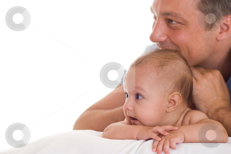 Father and his daughter  stock photo, Father and his daughter sitting at the wite desk by Alevtina Guzova