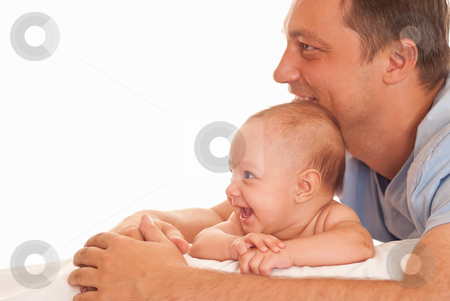 Nice father and his daughter stock photo, nice father and his daughter lie on a white by Alevtina Guzova