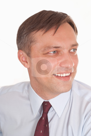 Happy nice businessman stock photo, happy nice businessman on a white background by Alevtina Guzova