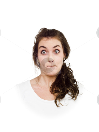Making Funny Face stock photo, Young woman making a funny face by Anne-Louise Quarfoth