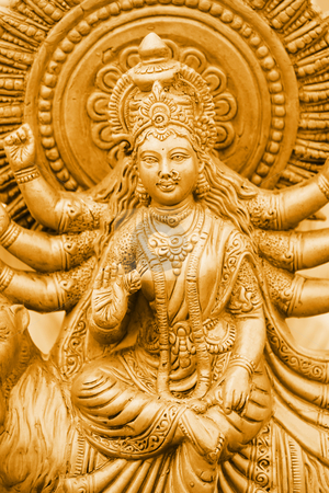 Golden Kali stock photo, Famous Hindu Godess Kali&#039;s statue in gold color  by Sreedhar Yedlapati