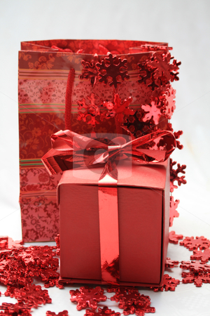 Red christmas gifts stock photo, Christmas gifts with red wrapping and christmas decorations by Porto Sabbia