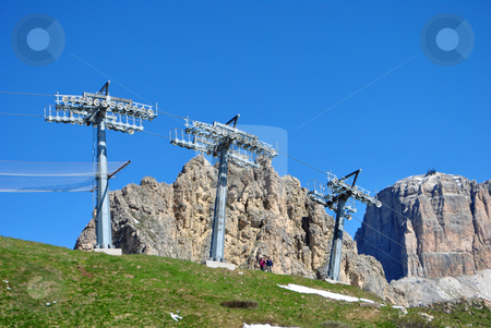 Ski lifts stock photo, lift for the sport of skiing by freeteo
