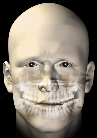 Male figure dental scan stock photo, Male figure portrait with dental scan x-ray. 3d computer generated illustration. by sirylok