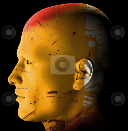 Rusty android stock photo, Futuristic rusty android profile. 3d digitally created illustration. by sirylok
