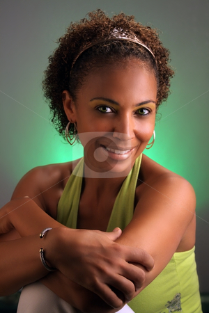 Beautiful Mature Black Woman Headshot (3) stock photo, Casual studio close-up of a lovely mature black woman by Carl Stewart
