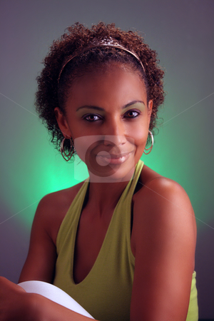 Beautiful Mature Black Woman Headshot (4) stock photo, Casual studio close-up of a lovely mature black woman by Carl Stewart