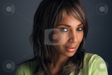 Beautiful Mature Black Woman Headshot (7) stock photo, Casual studio close-up of a lovely mature black woman by Carl Stewart