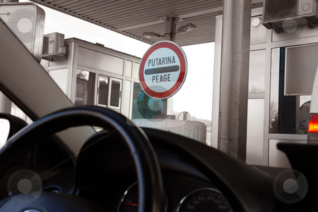 Travel stock photo, travel through Serbia, sign for toll road paying by Julija Sapic