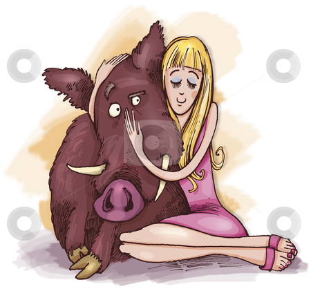 Woman with wild boar stock photo, humorous illustration of woman with wild boar by Igor Zakowski