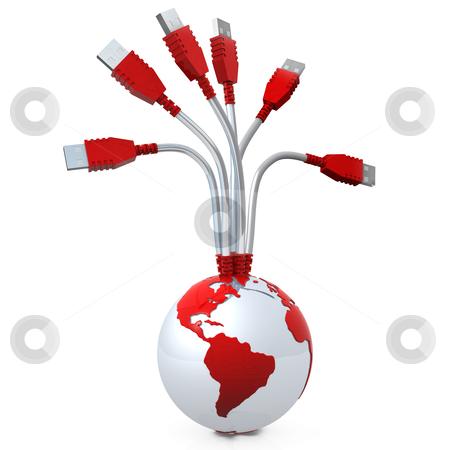 Global Data stock photo, 3D Globe with a USB cable coming out of it. by Konstantinos Kokkinis