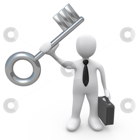 Key To Success stock photo, Business person holding a large key. Metaphor for solution or success. by Konstantinos Kokkinis