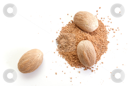 Nutmeg stock photo, Whole and grated nutmeg isolated on white background by Pierre-Yves Babelon