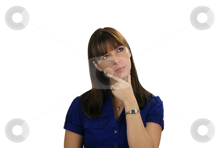 Beautiful Brunette Daydreaming stock photo, A lovely young brunette appears to be daydreaming, wondering, contemplating, or just thinking, looking off-camera toward frame right. by Carl Stewart
