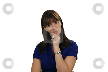 Beautiful Brunette Thinking stock photo, A lovely young brunette appears to be considering, wondering, contemplating, or just thinking, looking directly at the viewer. by Carl Stewart