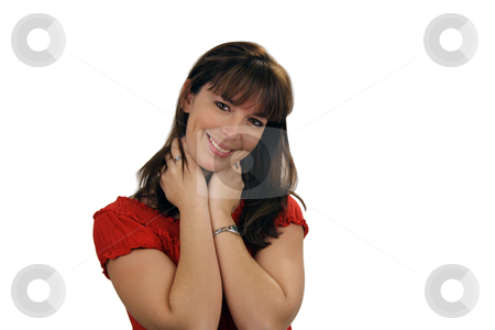 Beautiful Brunette Smiling (1) stock photo, A lovely young brunette with a captivating smile looks directly at the viewer. by Carl Stewart