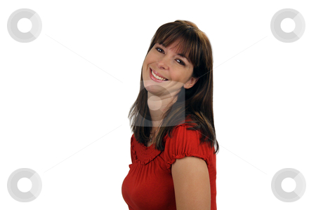 Beautiful Brunette Smiling (2) stock photo, A lovely young brunette with a captivating smile, faces frame left but looks directly at the viewer. by Carl Stewart