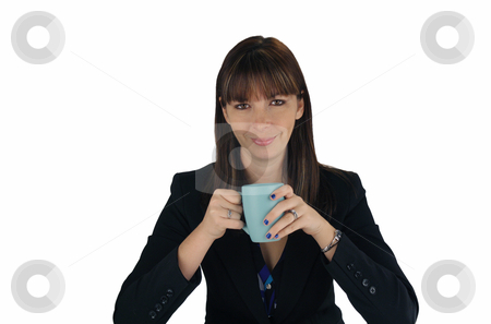 Beautiful Brunette Businesswoman with Coffee (2) stock photo, A lovely young brunette businesswoman looks directly at the viewer with a friendly smile, holding a cup of coffee or tea. by Carl Stewart