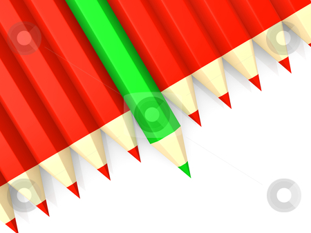 Standing Out stock photo, A row of red pencils and a green pencil standing out. by Konstantinos Kokkinis