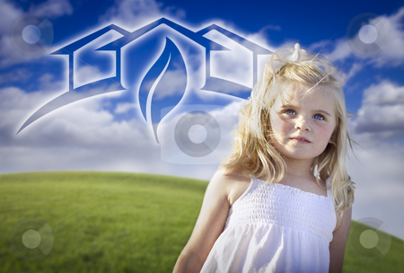 Adorable Blue Eyed Girl Playing Outside with Ghosted Green House stock photo, Adorable Blue Eyed Girl Playing Outside with Ghosted Green House Graphic in The Blue Sky. by Andy Dean