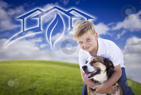 Boy and His Dog Playing Outside with Ghosted Green House Graphic stock photo, Adorable Boy and His Dog Playing Outside with Ghosted Green House Graphic in The Blue Sky. by Andy Dean