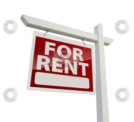 Left Facing For Rent Real Estate Sign on White stock photo, Left Facing For Rent Real Estate Sign Isolated on White with Clipping Path. by Andy Dean