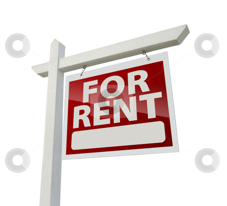 Right Facing For Rent Real Estate Sign on White stock photo, Right Facing For Rent Real Estate Sign Isolated on White with Clipping Path. by Andy Dean