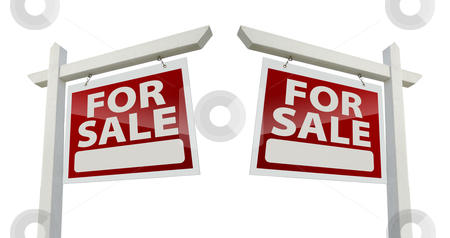 Pair of For Sale Real Estate Signs on White stock photo, Pair of Right and Left Facing For Sale Real Estate Signs Isolated on a White Background with Clipping Paths. by Andy Dean