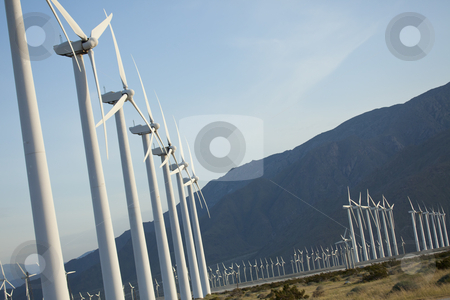 Dramatic Wind Turbine Farm stock photo, Dramatic Wind Turbine Farm in the Desert of California. by Andy Dean