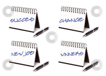 Spiral Note Pad and Pen Series stock photo, Spiral Note Pad and Pen Series Isolated on White - Success, Change, New Job and Winners - XXXL. by Andy Dean