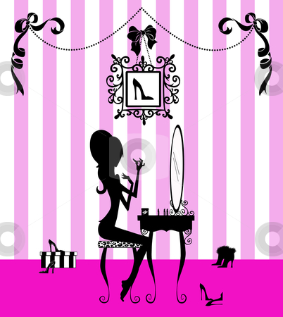 Silhouette of a Girl at her Vanity Table  stock photo, Fashion illustration of a pretty girl at her vanity applying makeup  by Leslie Murray