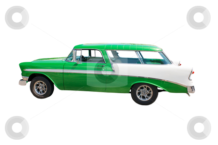 Retro green wagon hotrod stock photo, classic, American green streetrod wagon by Lee Barnwell