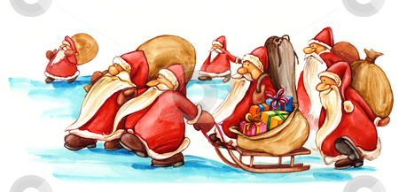 Santa Clauses with gifts stock photo, illustration of Santa Clauses with gifts by Igor Zakowski